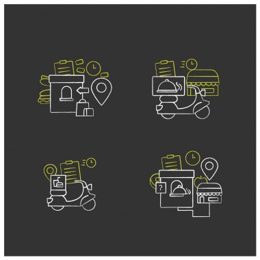 Online food chalk icons set. Restaurant fast delivery, issue point, ghost kitchen. Shopping application. Isolated vector illustrations on chalkboard icon