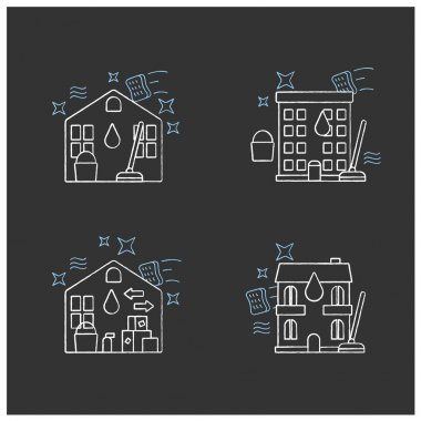 Cleaning services chalk icons set.Consists of house, residential and move out cleaning, apartment. Cleanup concepts.Isolated vector illustration on chalkboard icon