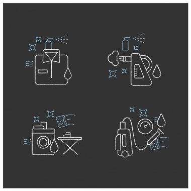 Cleaning services chalk icons set.Consists of dry cleaning, laundry, steaming, pressure washing. Cleanup concepts.Isolated vector illustrations on chalkboard icon