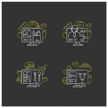 Online food chalk icons set. Dark store, pizza constructor online, food map, shopping. Shopping application. Isolated vector illustrations on chalkboard icon