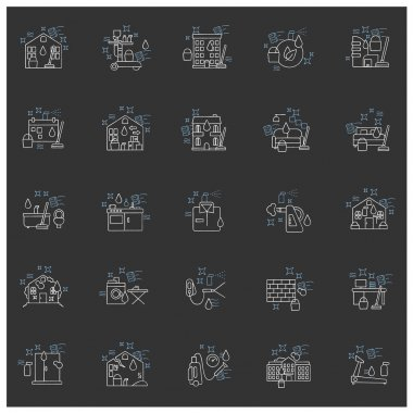 Cleaning services chalk icons set.Consists of house cleaning, apartments, commercial, services, pressure washing, sanitizing service. Isolated vector illustrations on chalkboard icon