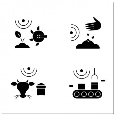 Smart farm glyph icons set. Consist of products packing, planting seeds, soil tilling, feeding livestock.Agricultural innovation concepts.Filled flat signs. Isolated silhouette vector illustrations icon
