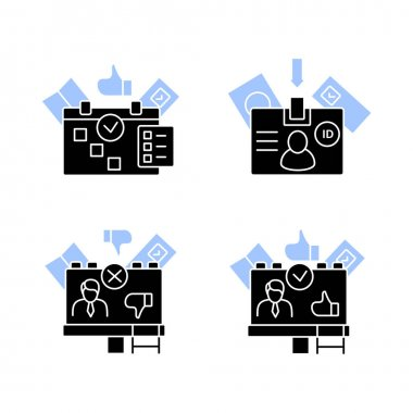 Election glyph icons set