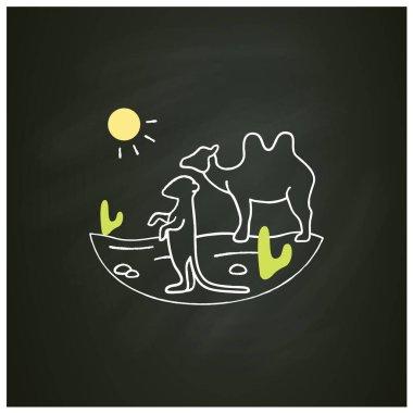 Desert chalk icon. Camel and suricat on desert landscape. Cactus, sun, summer. Wild nature, animals. Biodiversity concept. Isolated vector illustration on chalkboard icon