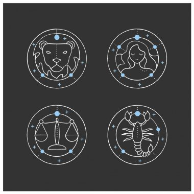 Zodiac chalk icons set. Fourth fire signs in zodiac. Birth symbols. Leo, virgo, scorpio, libra. Mystic horoscope signs. Astrological science.Isolated vector illustrations on chalkboard icon