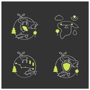 Biodiversity chalk icons set. Ecosystem balance,protection, loss. Biodiversity concept. Isolated vector illustrations on chalkboard icon