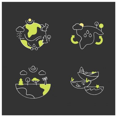 Biodiversity chalk icons set.Reduce air pollution. Fighting global warming. Saving flora and fauna.Species diversity ecosystem icons. Isolated vector illustrations on chalkboard icon