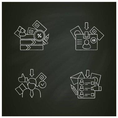 Election chalk icons set