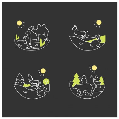 Biodiversity chalk icons set. Consists of desert, grassland,temperate forest, taiga forest ecosystems. Biodiversity concept. Isolated silhouette vector illustrations on chalkboard icon