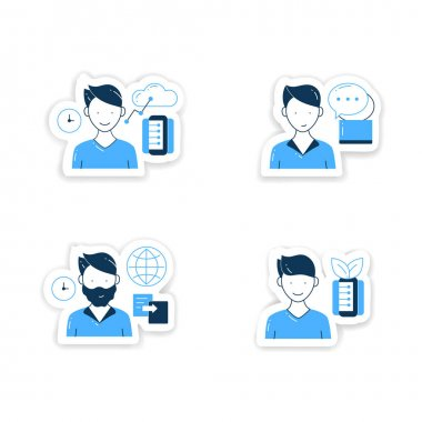 Information overload stickers icons set. Consists of instant messaging, data duplication, information ecology, info age badges for designs. Info overload vector emblem icon