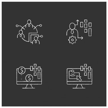Customer data platform chalk icons set. Audience segments, transactional data, behavioral date. Customer data concepts. Isolated vector illustrations on chalkboard icon