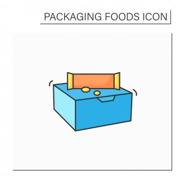 Snack bars color icon. Paper box with snacks.Portion control, protection, tampering resistance from bacteria. Packing food concept. Isolated vector illustration icon