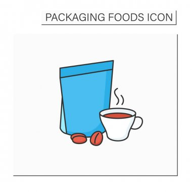 Coffee in bags color icon. Individual package. Portion control, protection, tampering resistance from bacteria. Packing food concept. Isolated vector illustration icon