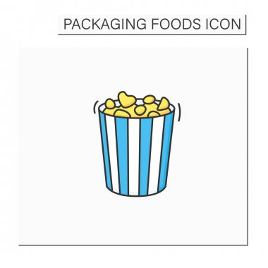Popcorn color icon. Tasty corn in special paper box. Portion control. Packing food concept. Isolated vector illustration icon