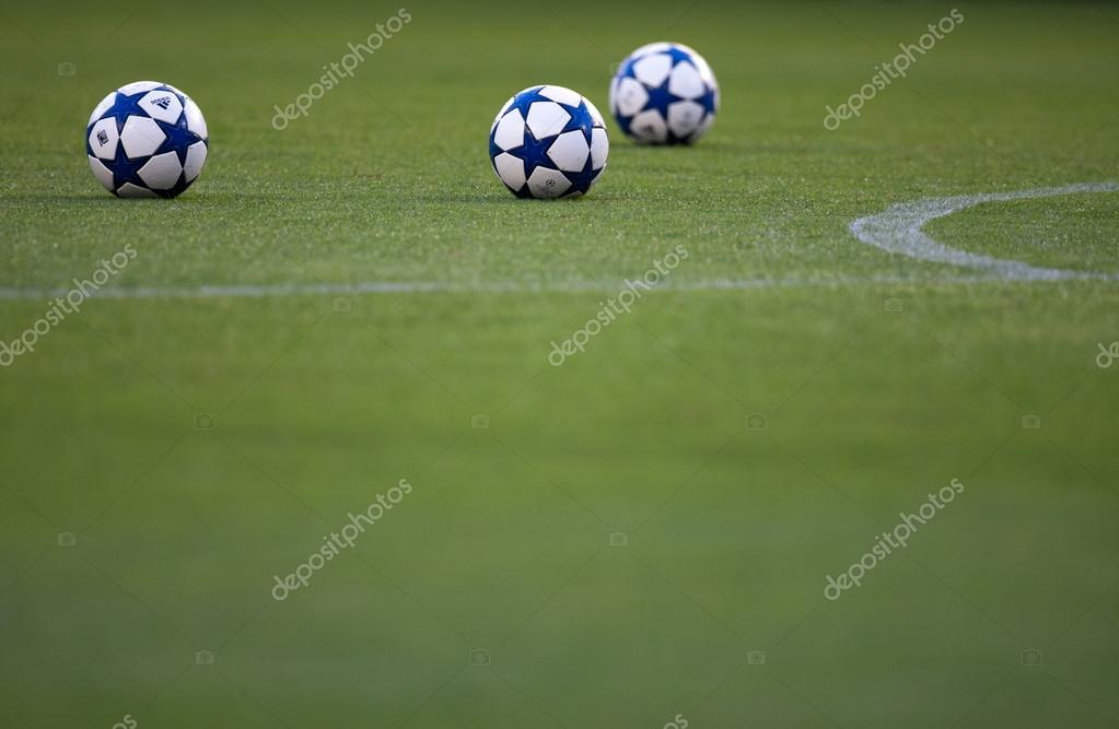Official UEFA Champions League  balls on the field