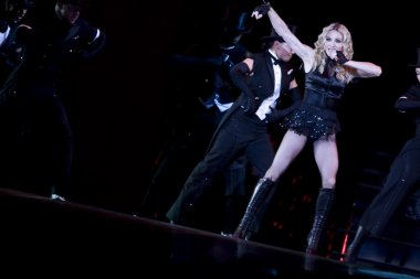 Madonna performs during her Sticky and Sweet Tour