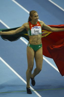 Naide Gomes celebrates the winning a gold medal at the Women's long jump