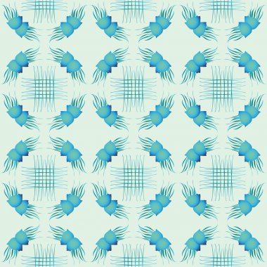 Seamless vector pattern with seashells. Vector illustration. Watercolor background.  Blue sea abstract pattern.