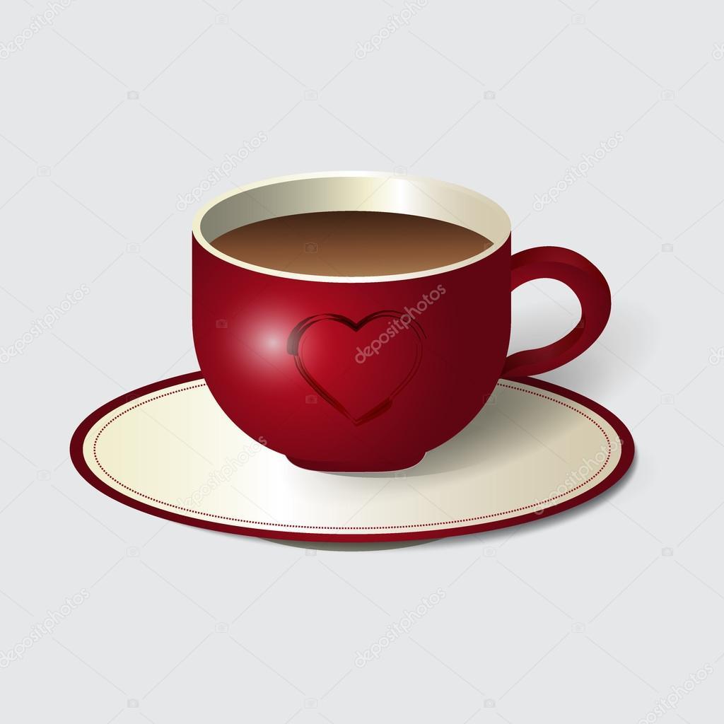 Rote Tasse Kaffee mit Herz-Symbol. Kaffee, Kaffeetasse, isoliert ...