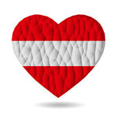 Vector - Heart of the Austrian flag. Love is a symbol of Australia. Heart flag icon. Austrian National Day.