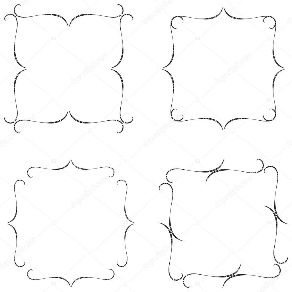 Cornici Disegno Bianco E Nero.Set Di Cornici In Bianco E Nero Collezione Frame Blocchi