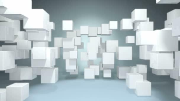 animierter White Cube dynamischer Shake im Raum