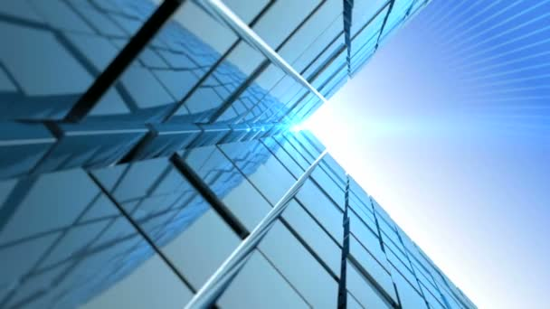 animated metro building wall reflect the sun light