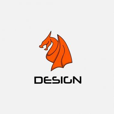 Logo design template, with a winged dragon icon, reddish orange in color
