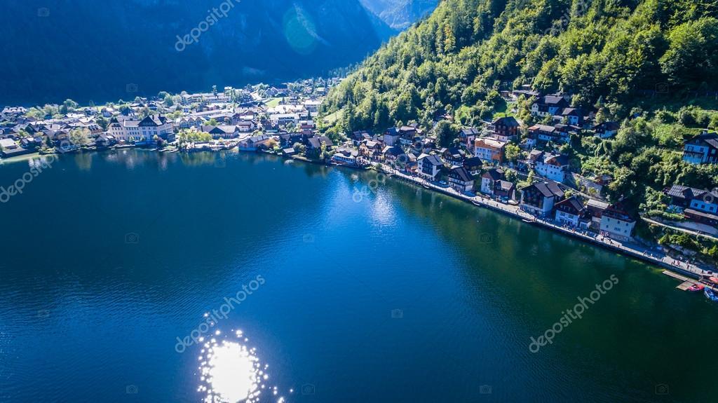 Panorama, Hallstatt village on Hallstaetter See in Austrian alps, Austria.