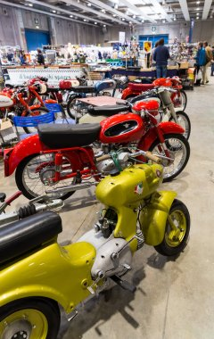 Exhibition of vintage motorcycles during the exhibition