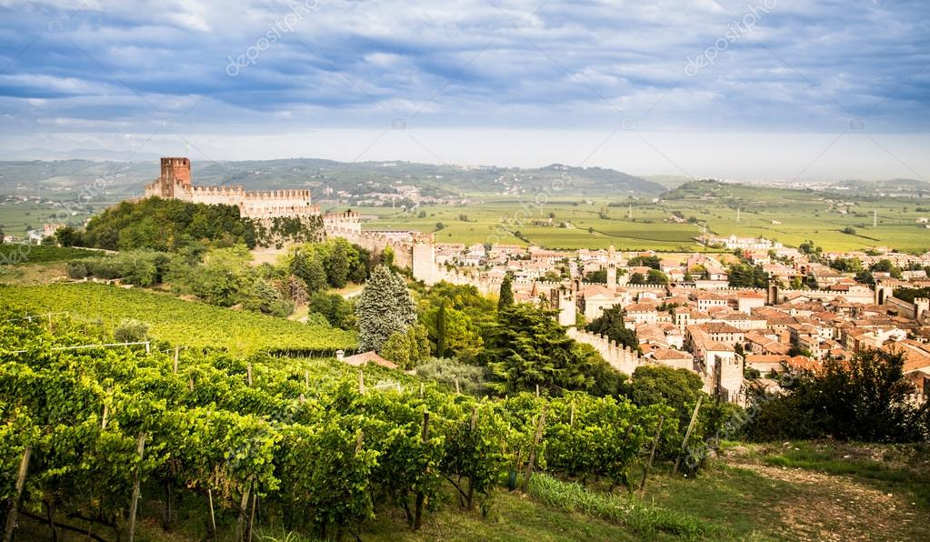 view of Soave (Italy) and its famous medieval castle