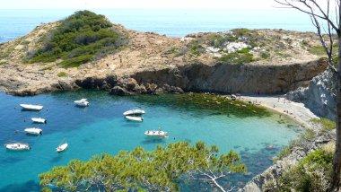 S'Eixugador small beach close to beautiful village and beach of Sa Tuna, Mediterranean sea, Catalonia, Spain