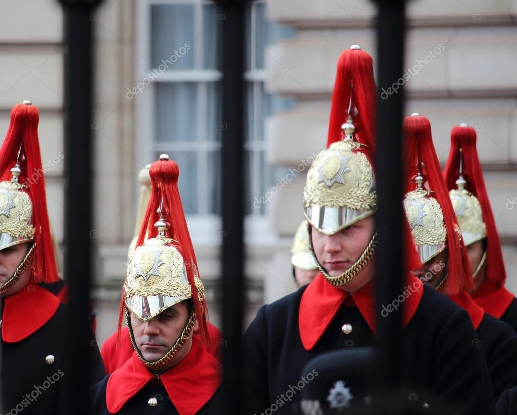 Buckingham Palace, London - February 15th of 2015: Trumpeters of the Royal Guard get ready to march during traditional Changing of the Guards ceremony at Buckingham Palace.