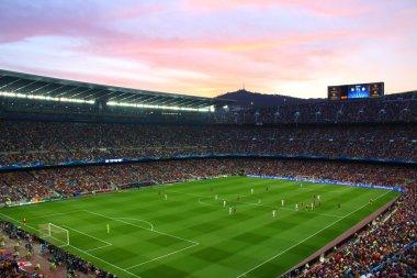 Nou Camp, Barselona, İspanya, 6 Nisan 2015 yılında: FC Barcelona ve 3-0 sona erdi FC Bayern Münih Şampiyonlar Ligi yarı final oyun sırasında görünümü, Futbol Club Barcelona'nın Stadı.
