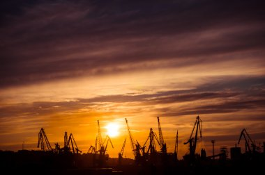 Sunset over the cargo port. Odessa, Ukraine