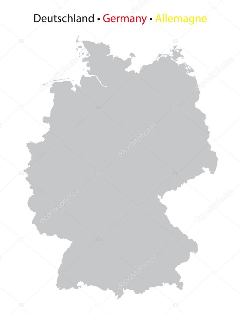 Germany Map Grey Silhouette High Detailed Stock Vector