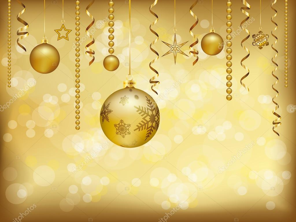 Elegant Christmas Greeting Card With Golden Christmas Baubles And
