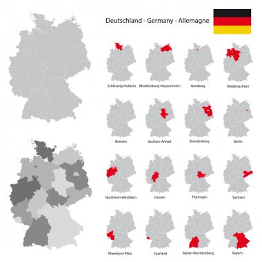 high detailed germany map collection, red marked federal states in separated maps illustratiions