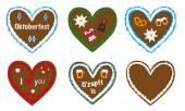 gingerbread heart vector collection, designs with lederhosen, dirndl, edelweiss, pretzel