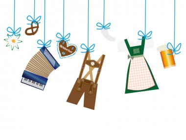 octoberfest background, lederhosen, dirndl, accordion, edelweiss icons hanging on blue line