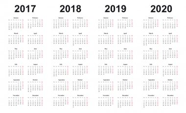 calendar 2017, 2018, 2019, 2020, simple design,