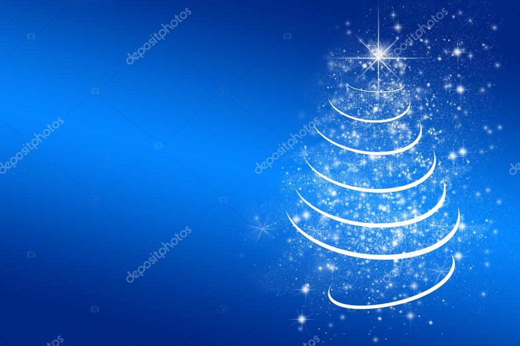 blue background with white christmas tree stars lights greeting card space for - Christmas Tree Stars