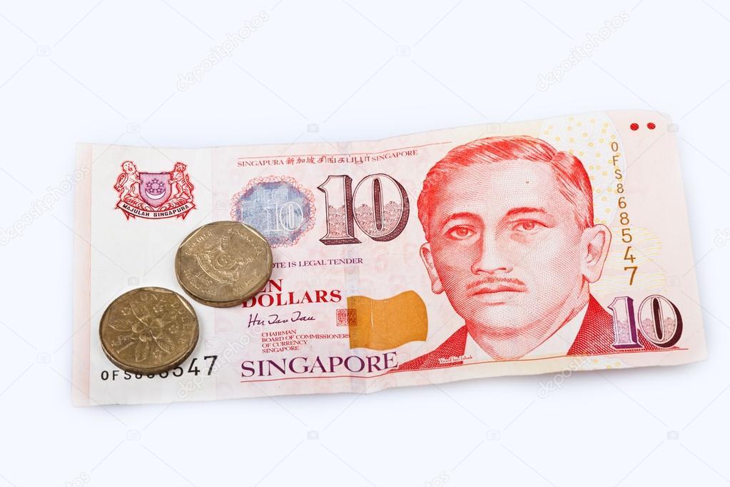 Singapur Dollar Banknote Eine Münzen Stockfoto Madorf 58434533