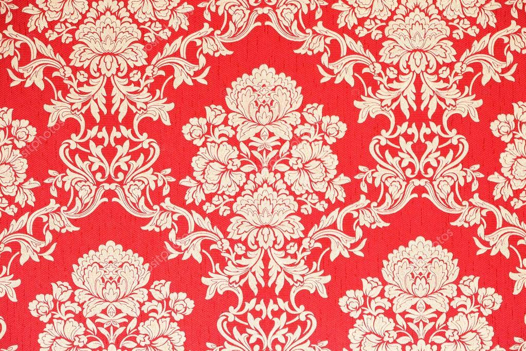 Papier Peint Vintage Design Baroque Fond Rouge Avec La Texture Or