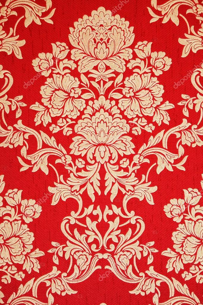 Papier Peint Vintage Rouge Avec Texture Floral Elegant