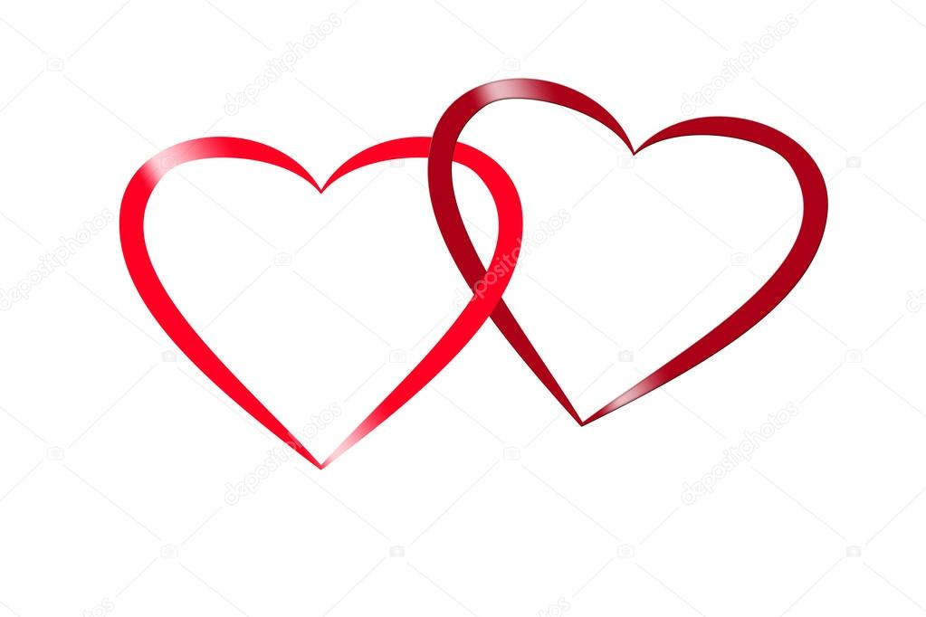 Clip Art Line Of Hearts : Illustration of two red hearts on white background symbol for