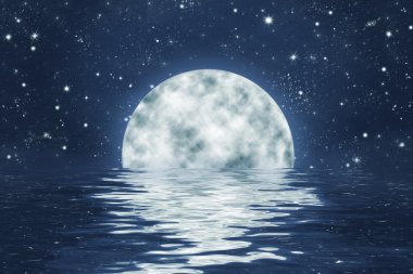 Full moon in water with reflection, starry night sky background