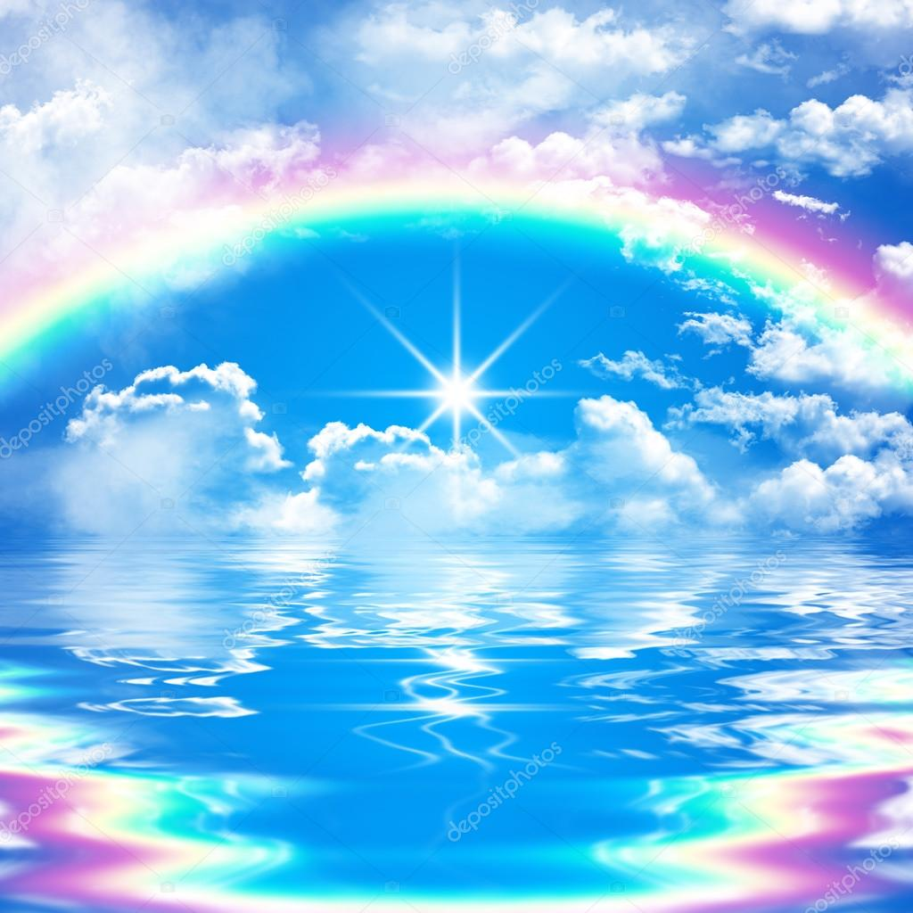 Impressive seascape illustration with rainbow on cloudy sky, bright sunshine, water with reflection and waves