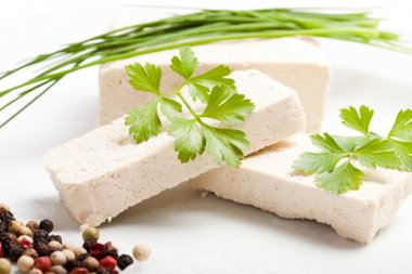 sliced raw tofu with spices