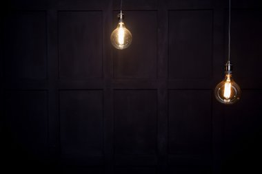 antique edison style light bulbs against wall